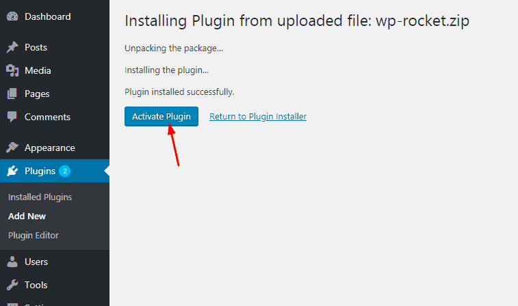 wp rocket plugin activated
