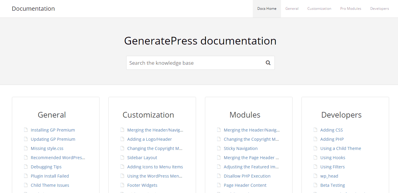 generatepress documentation