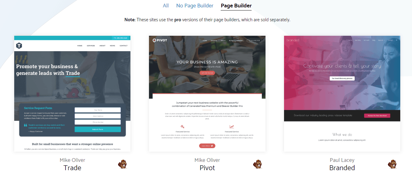 generatepress page builder templates