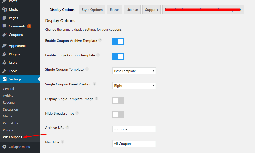 wp coupons plugin settings