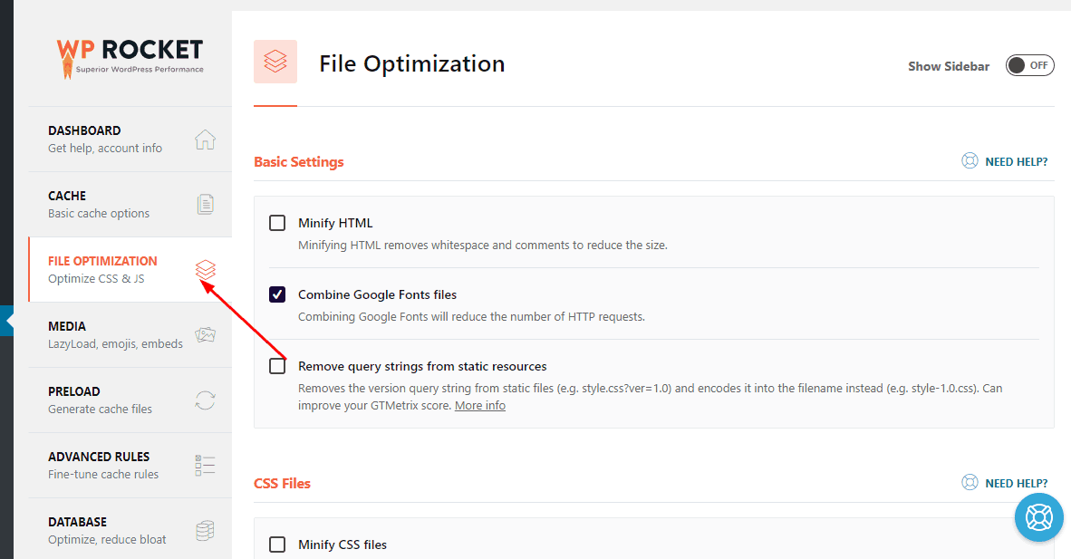 wp rocket file minification