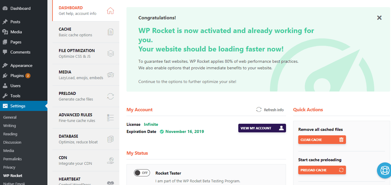 wp rocket license verification
