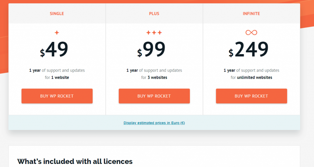 wp rocket plugin pricing