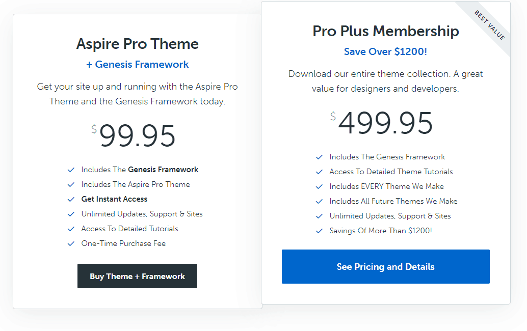aspire pro theme pricing