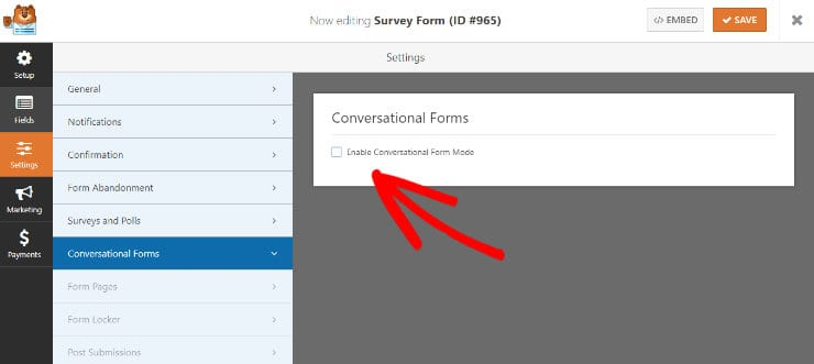 conversational forms addon in wpforms