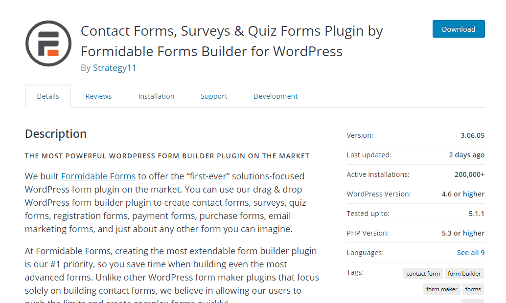 formidable forms lite plugin