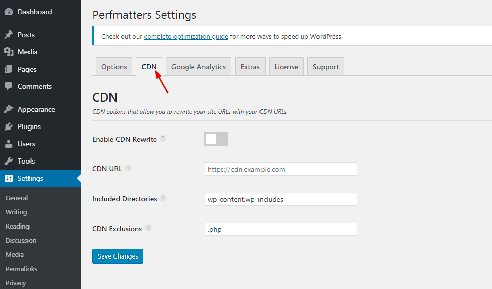 perfmatters cdn settings