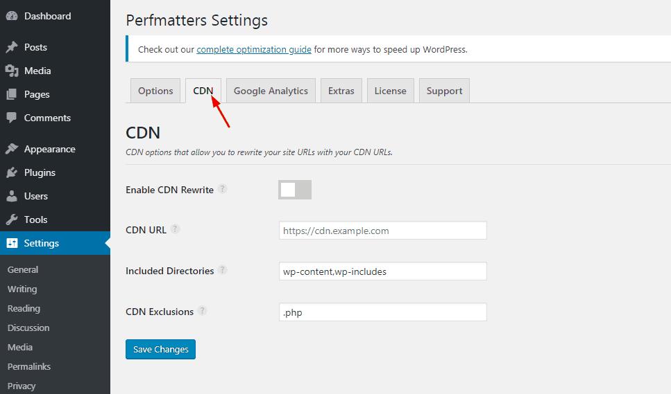 perfmatters cdn settings