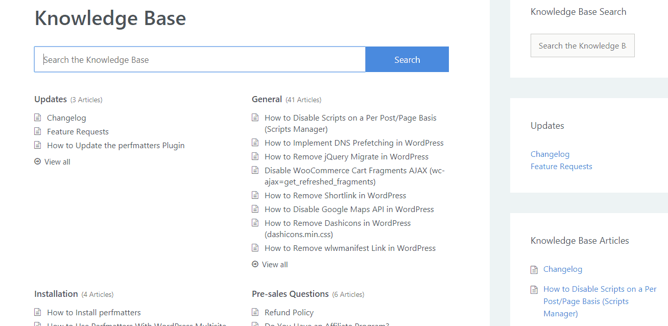 perfmatters knowledge base