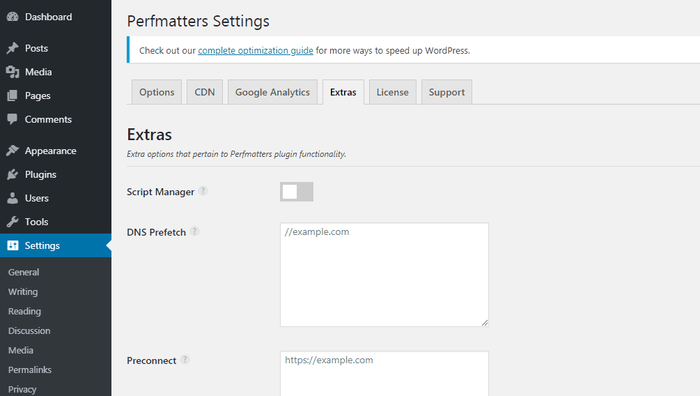 perfmatters dns prefetching settings