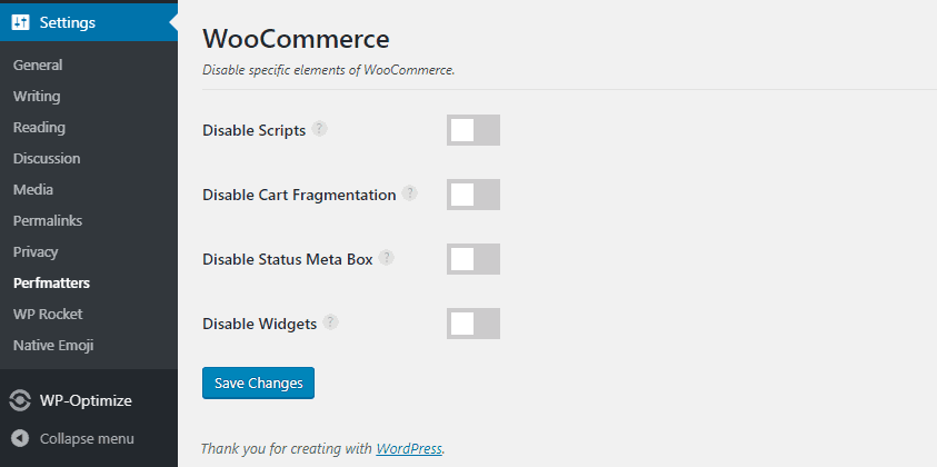 perfmatters woocommerce settings