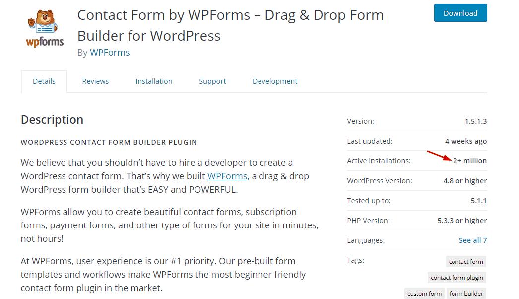 wpforms installs