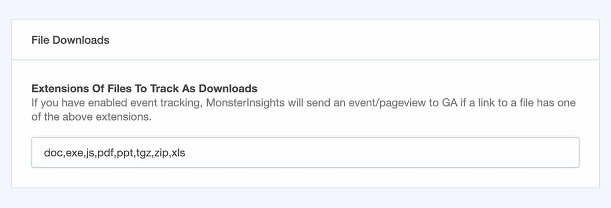 monsterinsights downloading feature