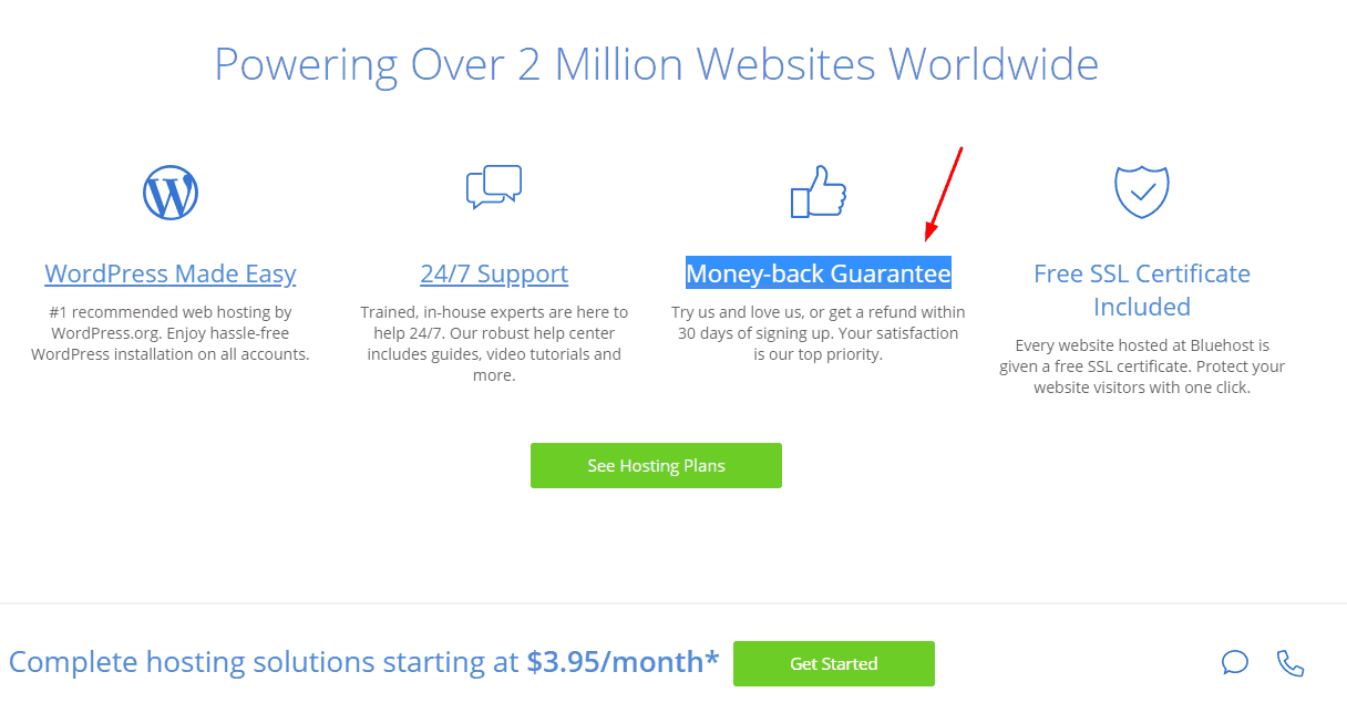 money back guarantee in bluehost