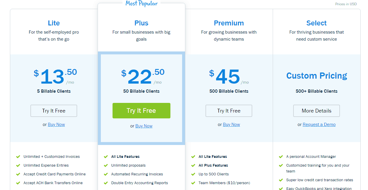 freshbooks pricing