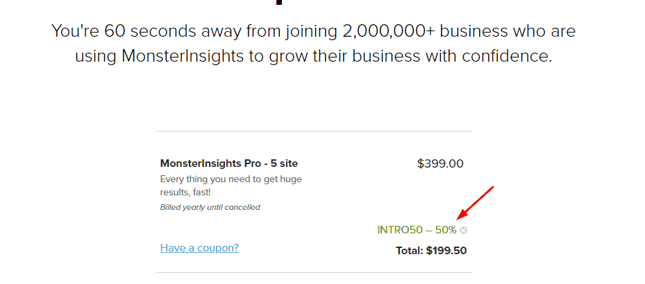 monsterinsights discount coupon