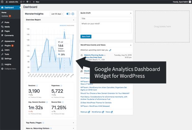 wordpress dashboard widget monsterinsights