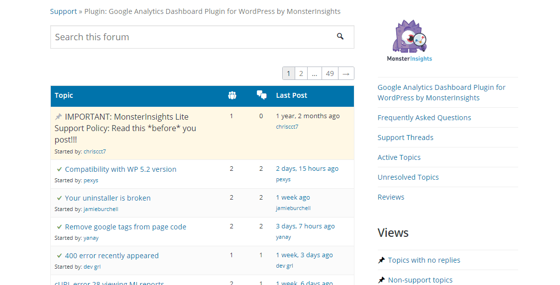 support forum of monsterinsights lite
