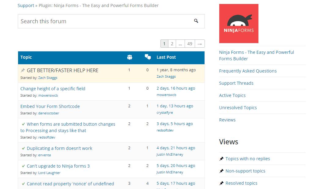 ninja forms support forum