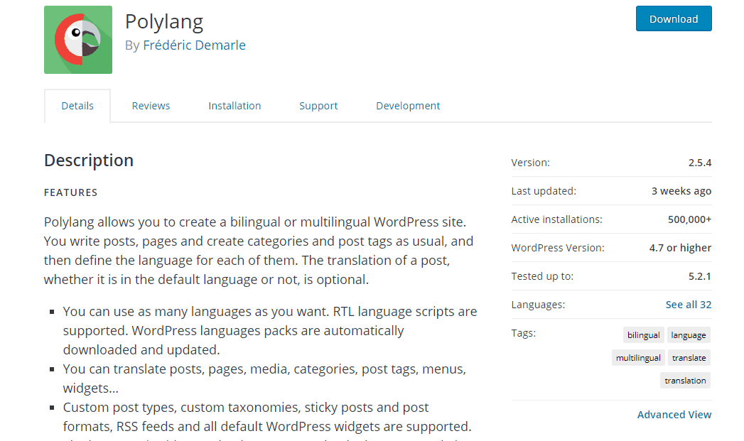 polylang wordpress plugin