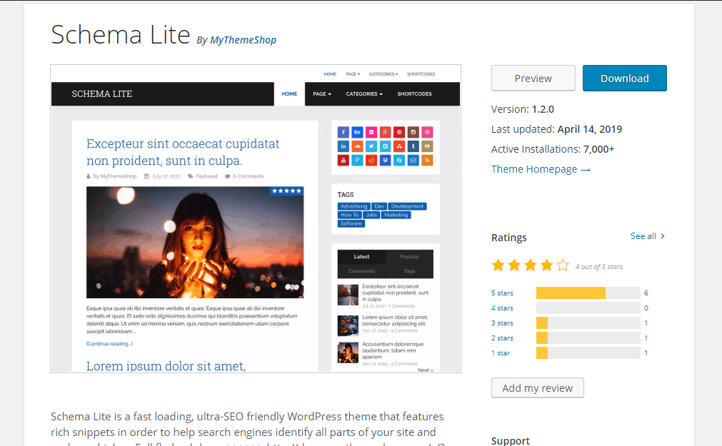 schema lite wordpress theme