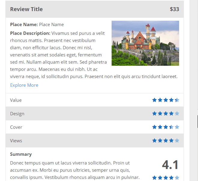 wp review plugin default template