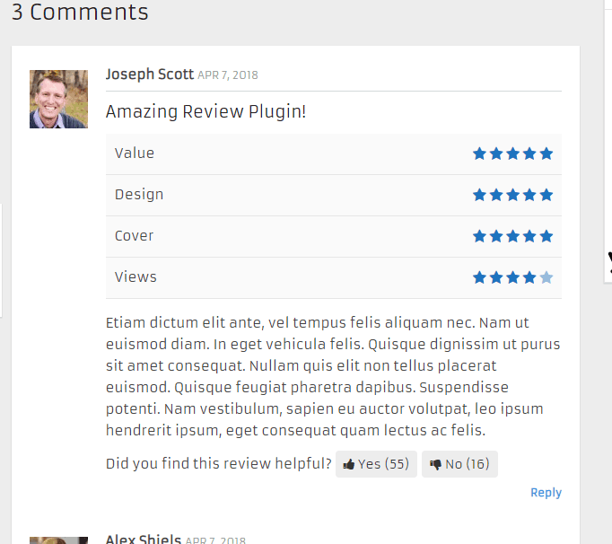 wp review comments rating