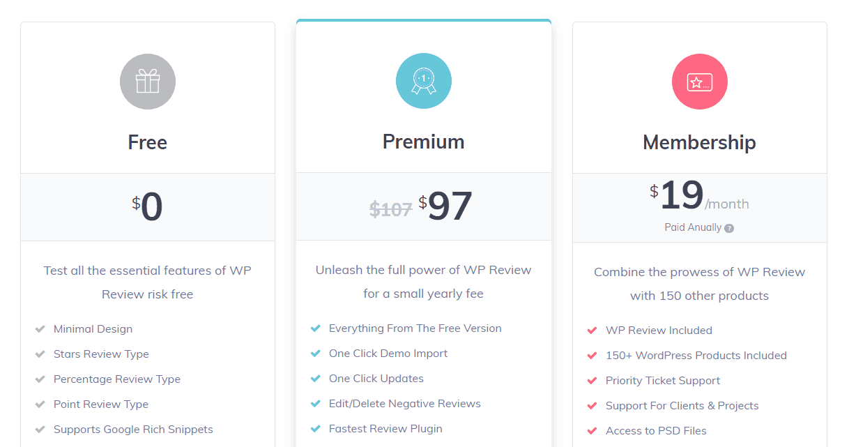 wp review pro pricing page