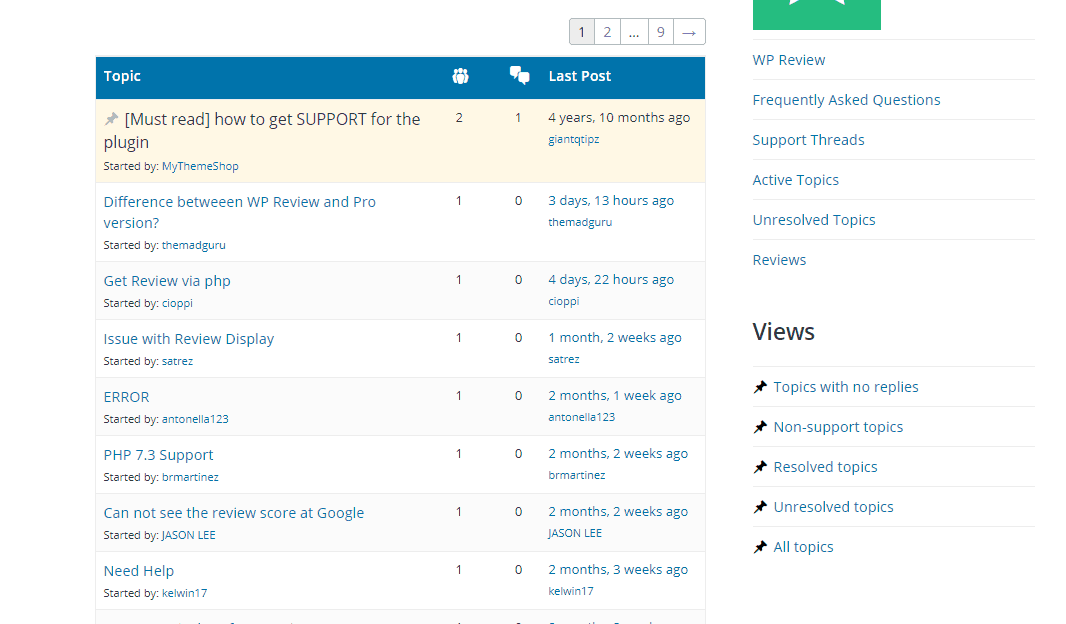 wp review support forum