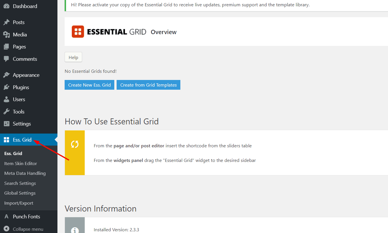 essential grid plugin settings
