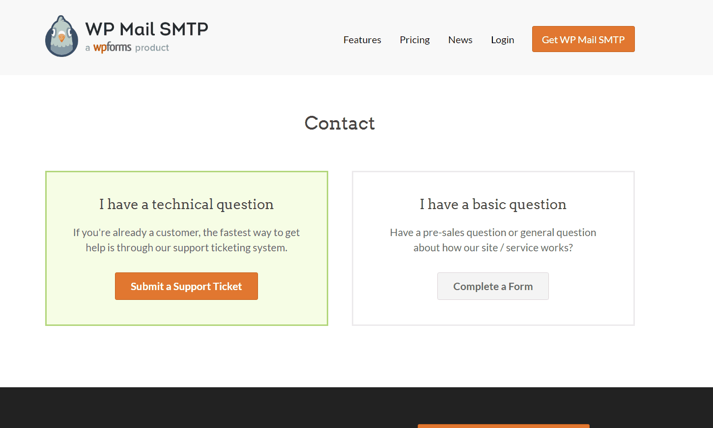 wp mail smtp support page