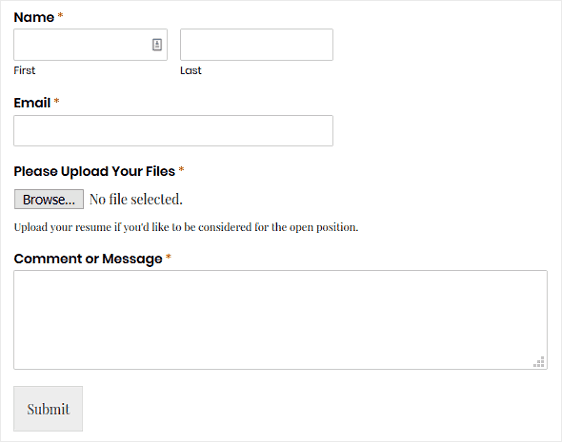 wpforms file upload form