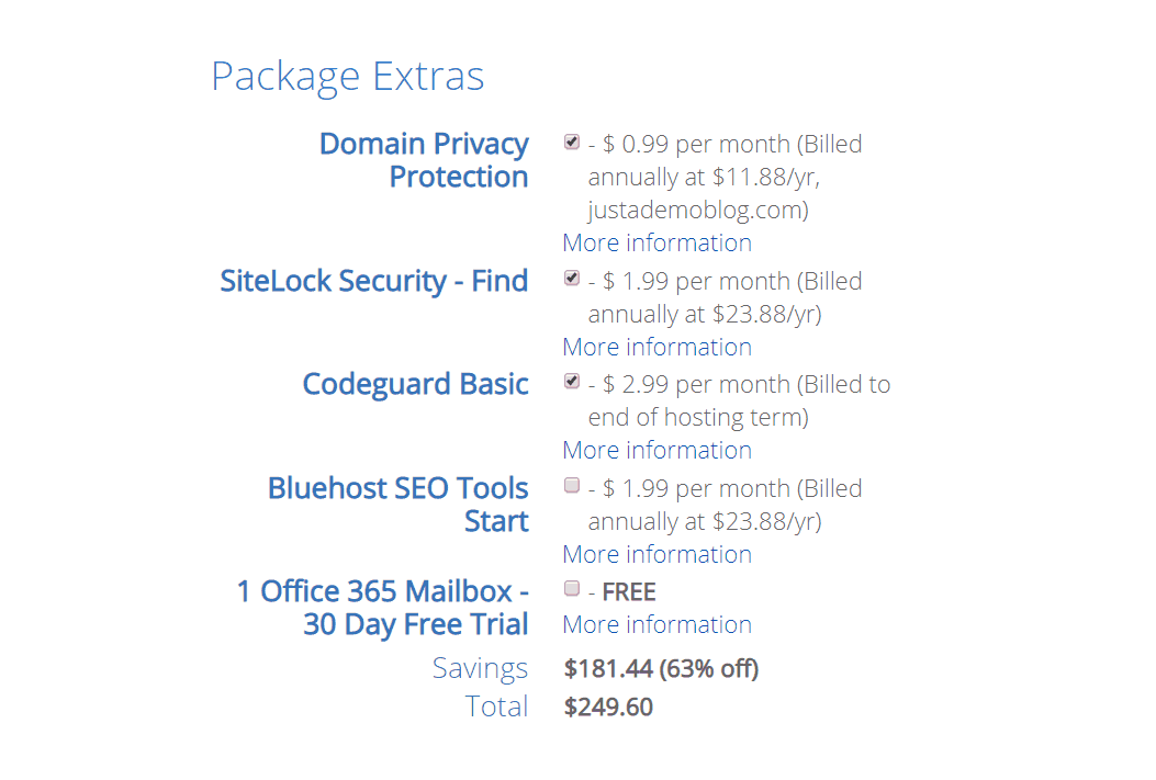 bluehost extra add-ons