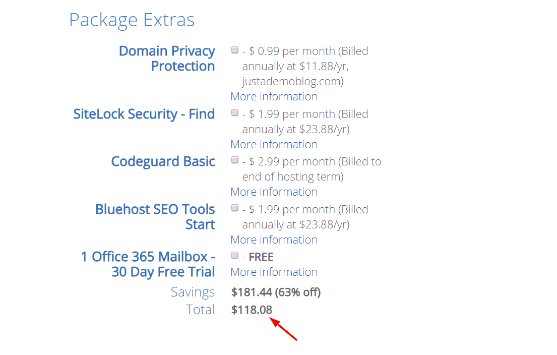 bluehost total price