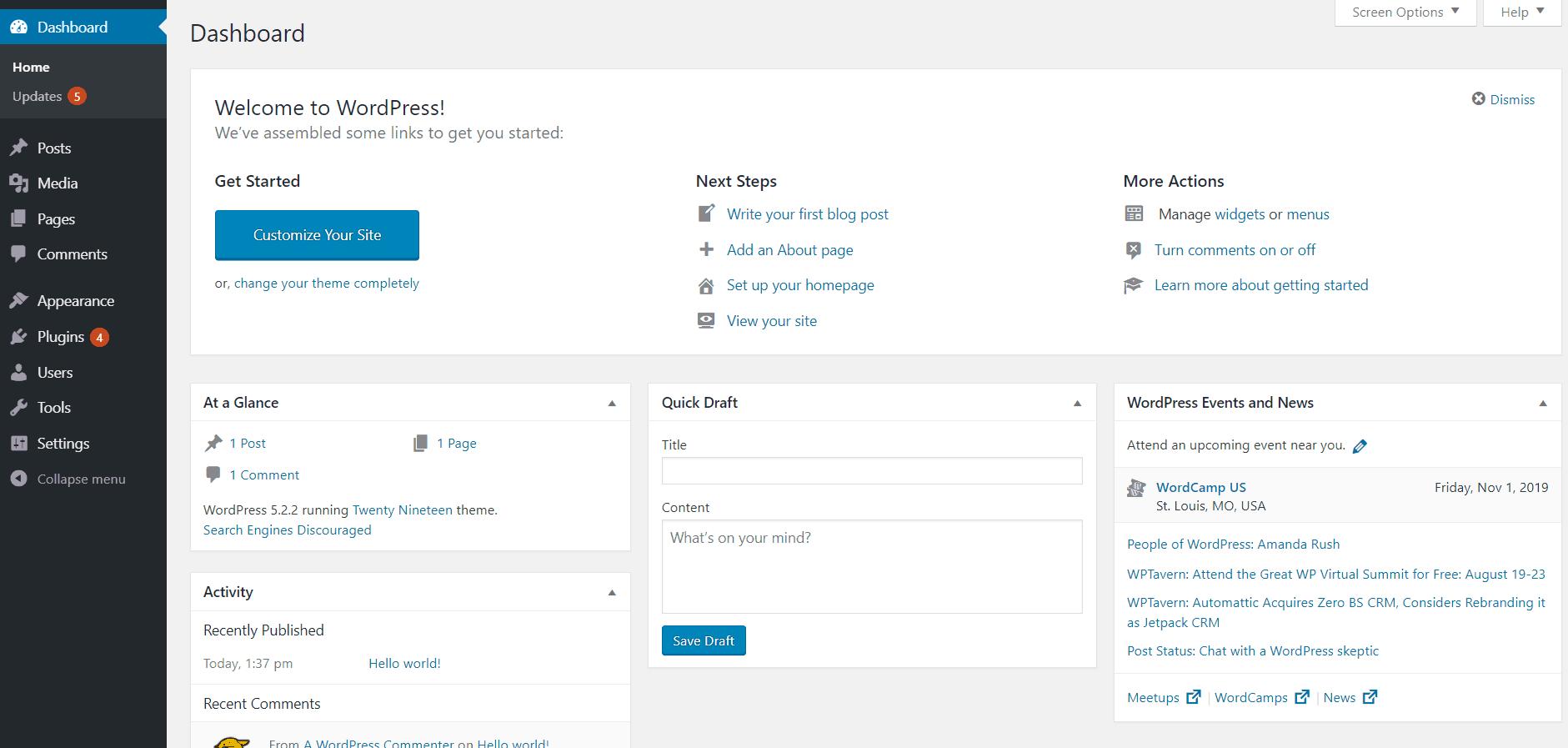 wp dashboard logged in