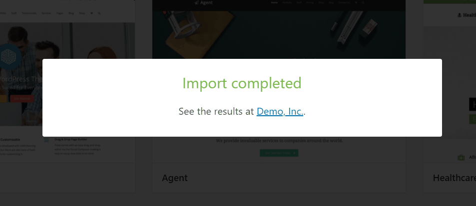 demo import completed