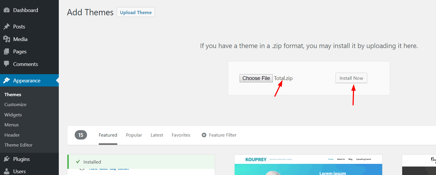 upload total theme