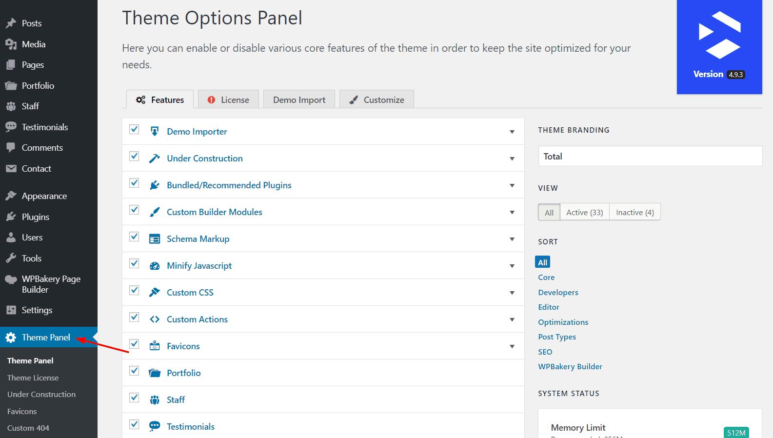 total theme panel