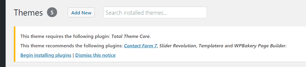 total theme core plugin