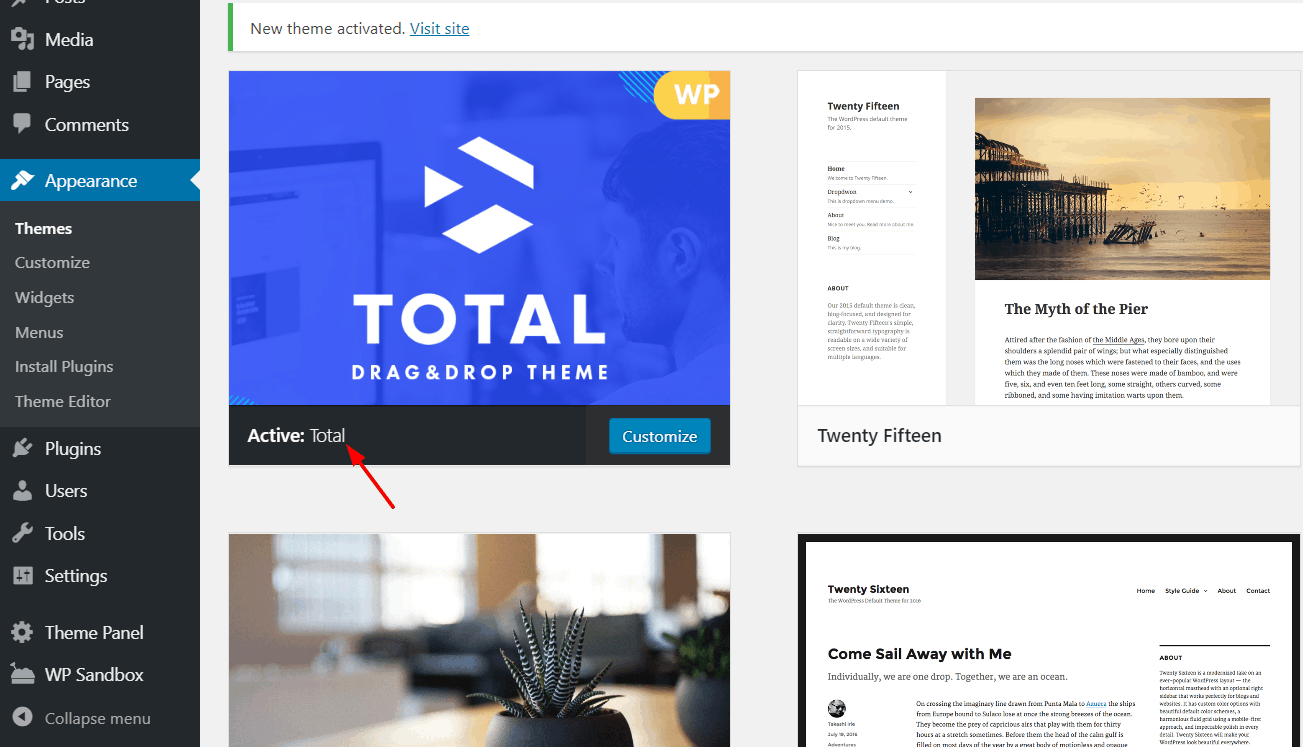 total wordpress theme activated