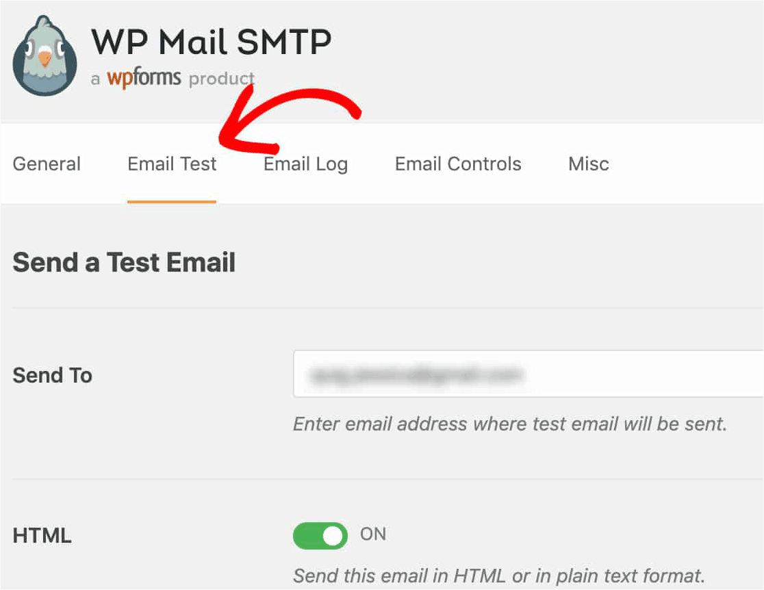 wp mail smtp test email