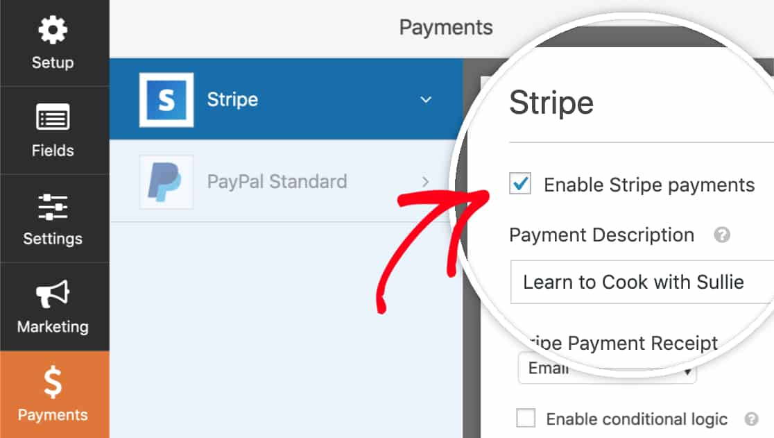 enable stripe