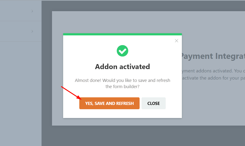 stripe addon activated