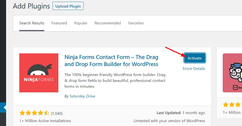 activate ninja forms