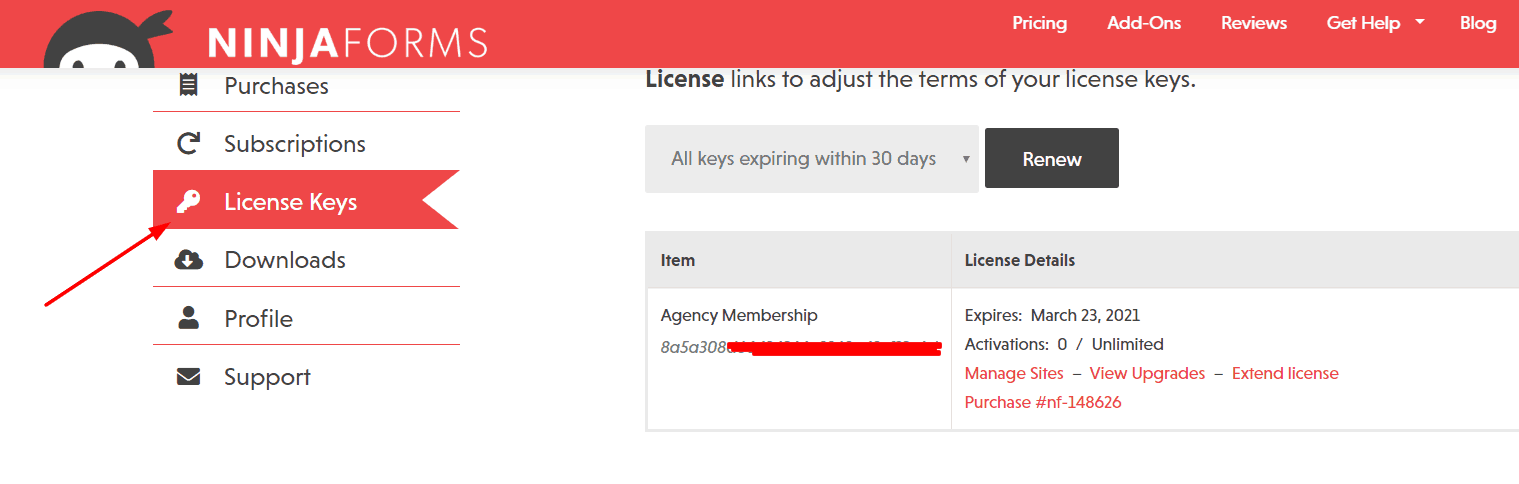 ninja forms license