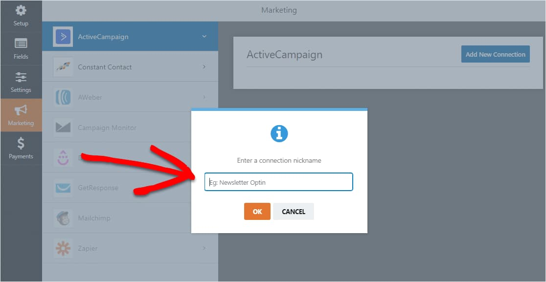 add new activecampaign connection