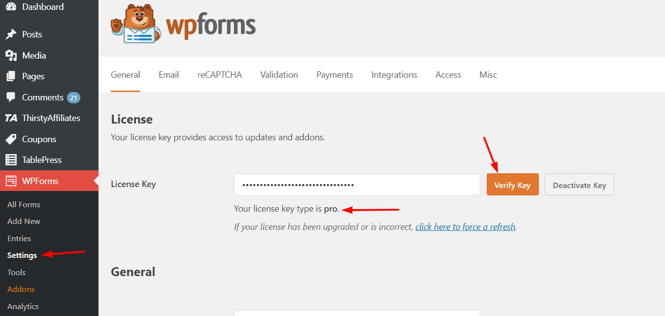verify wpforms license key