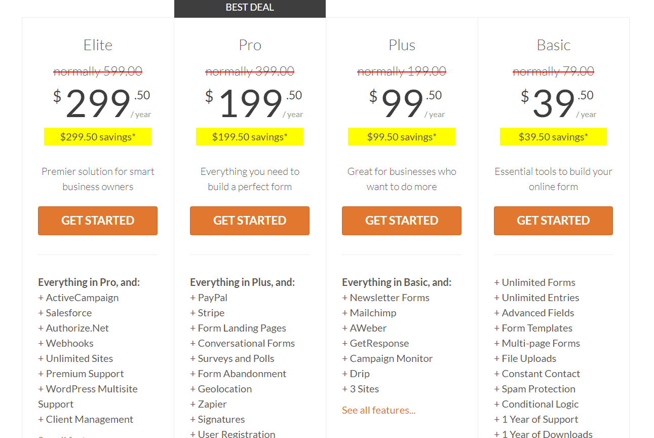 wpforms premium pricing
